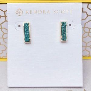 New Kendra Scott Gold Aqua Drusy Lady Stud